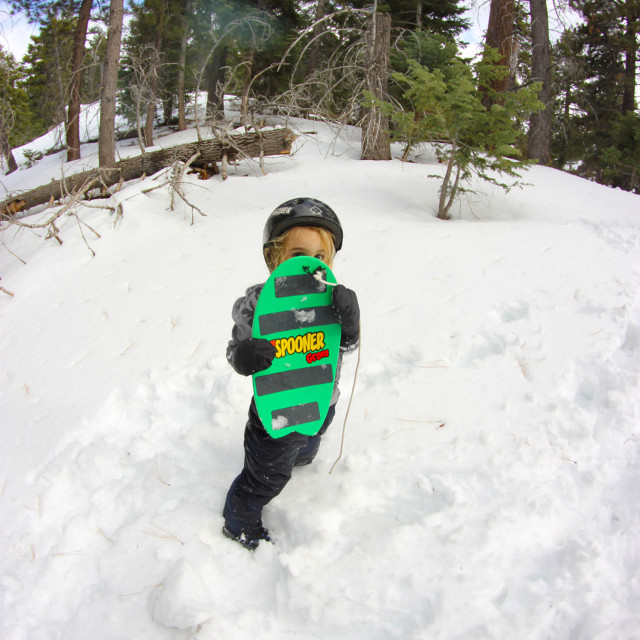 Showing off Grom Balance Board in the snow