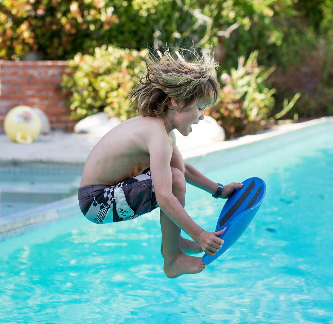 Spooner Trick, Caveman into the pool