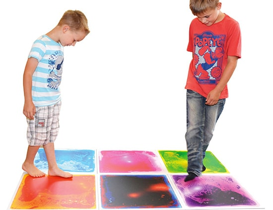 Surfloor Liquid Tile: bright cosmic liquid colors that move with every step, jump, dance, or hop!